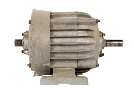Old electric motor, isolated on a white background Stock Photo