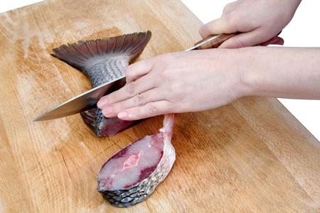 Cutting fish, isolated on white background Stock Photo