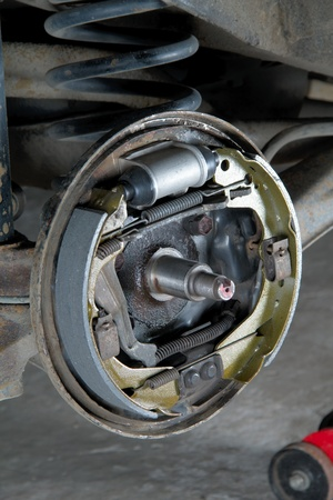 New brake pads and cylinder brake drum photo