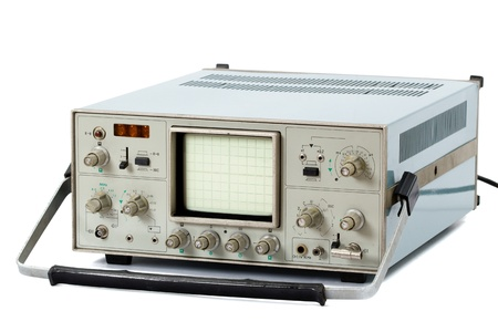 cathode ray tube: Oscilloscope, isolated on a white background Stock Photo