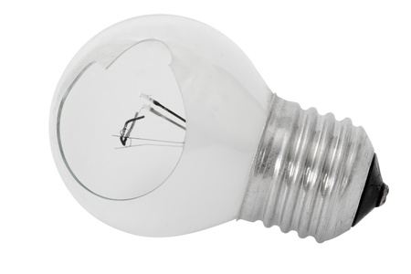 Shattered light bulb, isolated on a white background photo