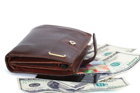 Wallet with dollars and credit cards, isolated on white background Stock Photo
