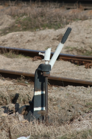 turnouts: Turnouts - a device used for translating rolling stock from one path to another. Stock Photo