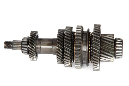 Transmission gears, isolated on a white background Stock Photo