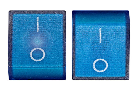 Blue power switch onoff, isolated on white background, with clipping path photo