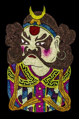 Chinese tradition opera mask, isolated on black background photo