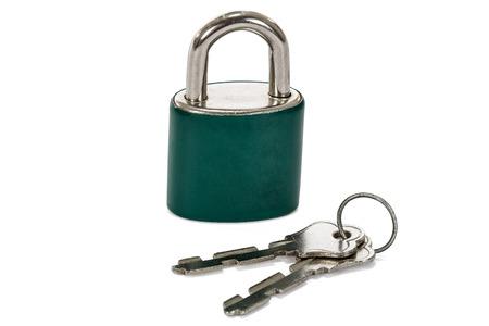 Close up lock and keys on white background photo