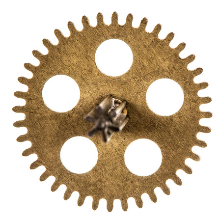escapement: Pinion of old clock mechanism, isolated on white background Stock Photo