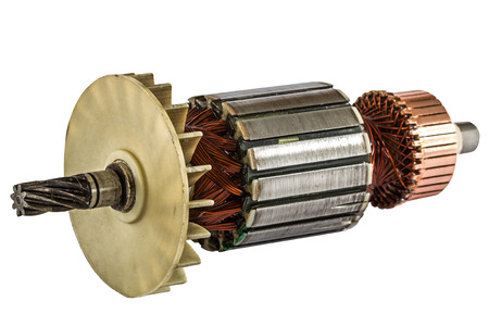 rotor: Rotor of electric motor close-up, isolated on white background Stock Photo