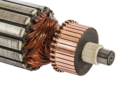 electromagnetism: Rotor of electric motor close-up, isolated on white background Stock Photo