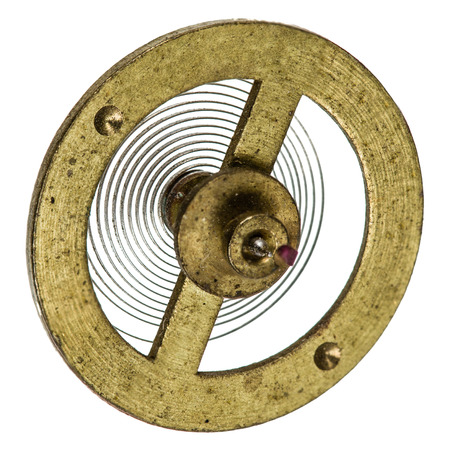 reloj de pendulo: Péndulo del mecanismo del reloj de edad, aislado en fondo blanco Foto de archivo