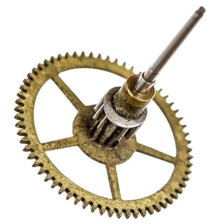 pinion: Pinion of old clock mechanism, isolated on white background Stock Photo