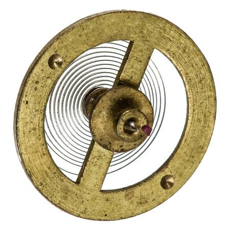 reloj de pendulo: P�ndulo del mecanismo del reloj de edad, aislado en fondo blanco Foto de archivo