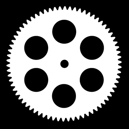 escapement: Silhouette pinion, isolated on black background