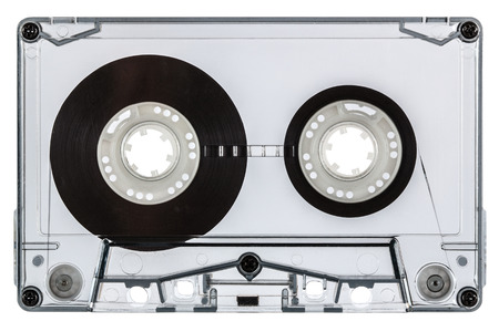 Сlose up of vintage audio cassette, isolated on white background