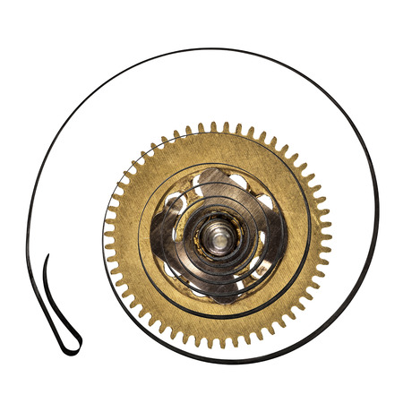 escapement: Clock spring with spring, isolated on white