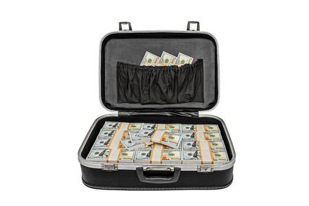 cash money: Gran cantidad de dinero en una maleta aislado en blanco, con trazado de recorte Foto de archivo