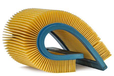 rubber gasket: Car filter close-up, auto spare part, isolated on white background Stock Photo