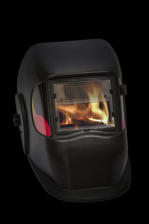fireproof: Firefighters mask, welding mask, isolated on black background
