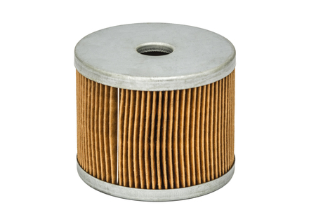 Car filter close-up, auto spare part, isolated on white, with clipping path Stock Photo