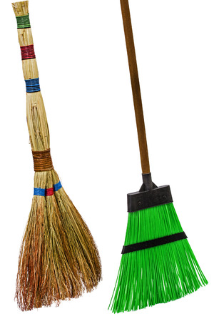 besom: Besom and broom, isolated on white background