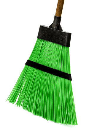 besom: Broom, isolated on white background Stock Photo