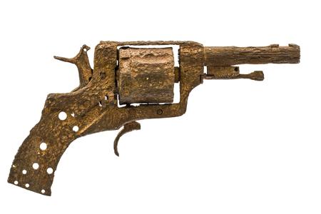 barrel pistol: Old rusty pistol, Isolated on white background Stock Photo