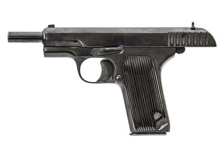 barrel pistol: Automatic pistol, isolated on white background