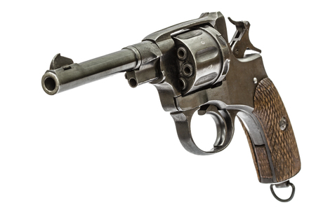 barrel pistol: Old pistol with the hammer cocked, isolated on white background Stock Photo