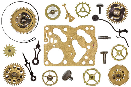 metal parts: Spare parts for clock. Metal gears, cogwheels and other details