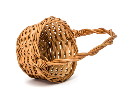 willow fruit basket: Empty wicker basket, isolated on white background