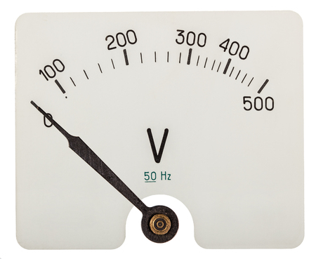 volts: Arrow of voltmeter indicating an 0 volts, isolated on white background