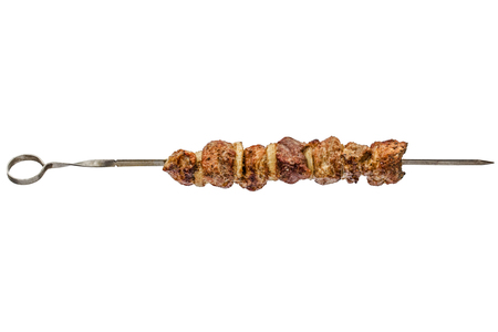 Roasted meat with onion of skewer, isolated on white background Stock Photo