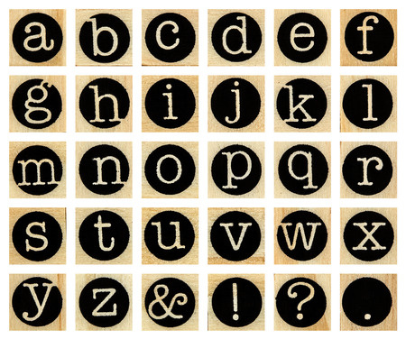 lowercase: English alphabet lowercase, collage of isolated wood letterpress printing blocks