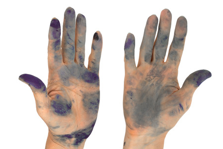 Womans hands soiled by in ink, isolated on white background Stock Photo