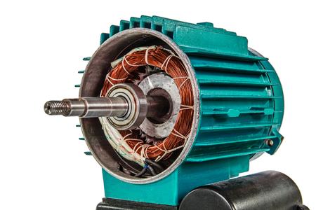 componentes: Motor eléctrico, aislado en el fondo blanco