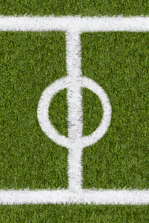 boundary: Further boundary line on green grass of sports field