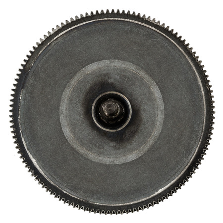 escapement: One gear wheel from metal closeup, isolated on white background