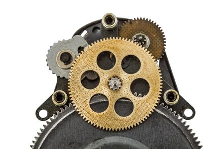 escapement: The mechanism with toothed wheels, isolated on white background