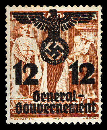 german fascist: GERMAN REICH. Circa 1939 - c.1944: General Goudernement. A postage stamp with portraying of nazi symbols