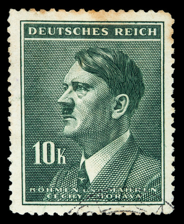 adolf hitler: GERMAN REICH. Circa 1939 - c.1944: A postage stamp with portraying of Adolf Hitler Editorial