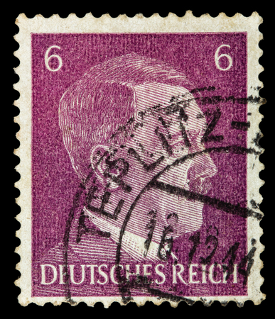german fascist: GERMAN REICH. Circa 1939 - c.1944: A postage stamp with portraying of Adolf Hitler Editorial