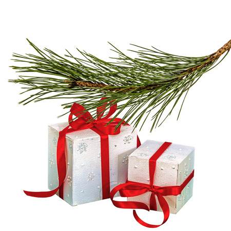 Gifts in boxes lie beneath of the fir branch, isolated on a white background