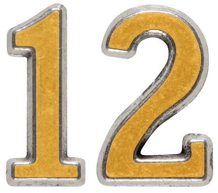 Metal numeral 12, twelve, isolated on white background 免版税图像