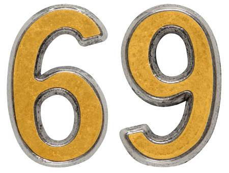 argent: Metal numeral 69, sixty-nine, isolated on white background