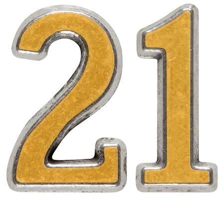 Metal numeral 21, twenty-one, isolated on white background Stock Photo