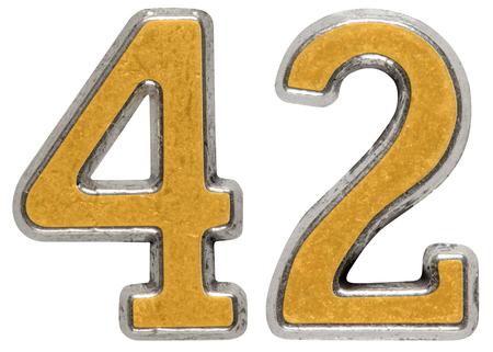 금속 숫자 42, 흰색 배경에 고립 된 42