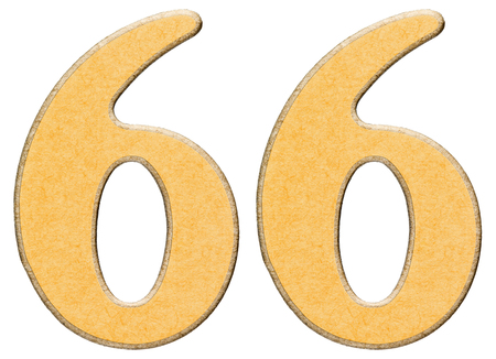 sixty six: 66, sixty six, numeral of wood combined with yellow insert, isolated on white background Stock Photo