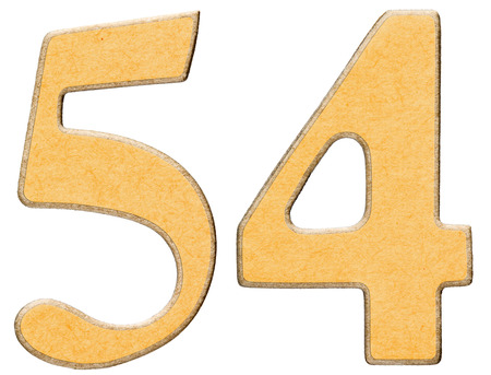 54: 54, fifty four, numeral of wood combined with yellow insert, isolated on white background Stock Photo