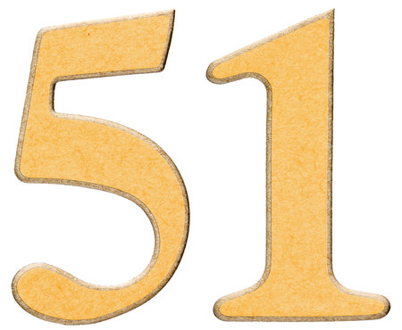 recycled paper texture: 51, fifty one, numeral of wood combined with yellow insert, isolated on white background